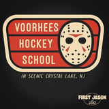 FIRST JASON 'VOORHEES HOCKEY SCHOOL' design with hockey mask above scenic camp crystal lake