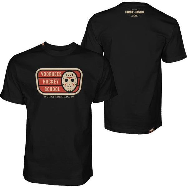 FIRST JASON 'VOORHEES HOCKEY SCHOOL' short sleeve hockey t-shirt in black front and back view