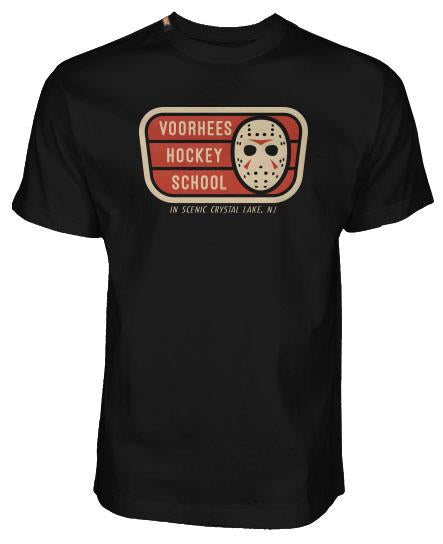 FIRST JASON 'VOORHEES HOCKEY SCHOOL' short sleeve hockey t-shirt in black front view