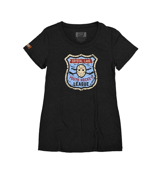 FIRST JASON 'YOUTH HOCKEY - VOORHEES 13' women's short sleeve hockey t-shirt in black front view