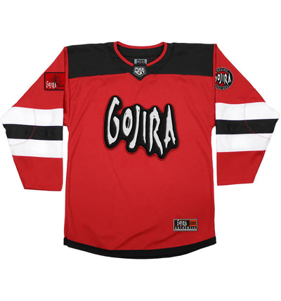 GOJIRA 'SKATE TO BEHOLD' deluxe hockey jersey in red, black, and white front view