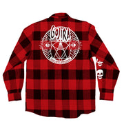 GOJIRA 'THE SHOOTING STAR' hockey flannel in red plaid back view