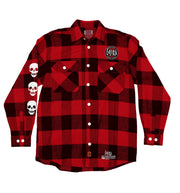 GOJIRA 'THE SHOOTING STAR' hockey flannel in red plaid front view