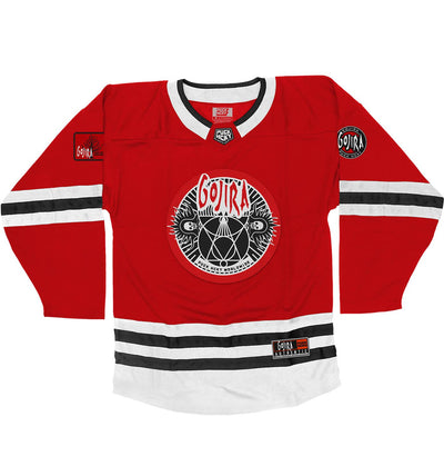 GOJIRA 'THE SHOOTING STAR' hockey jersey in red, white, and black front view