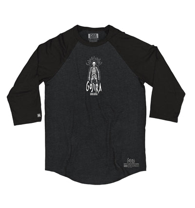 GOJIRA 'THE SHOOTING STAR' hockey raglan in black heather with black sleeves front view