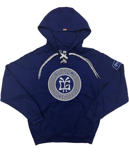GRUESOME 'BRONX BEAST' pullover hockey hoodie in navy with silver and white laces
