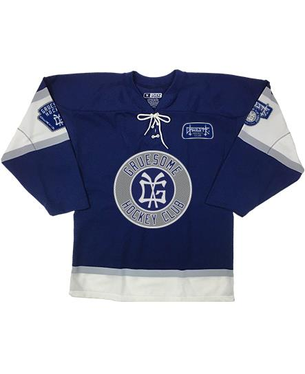 GRUESOME 'BRONX BEAST' hockey jersey in navy, white, and grey front view