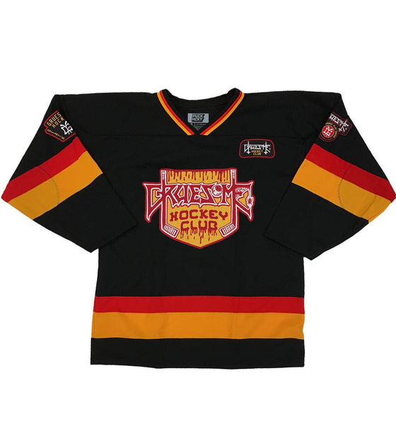 GRUESOME 'DEMONIZED' hockey jersey in black, red, and gold front view