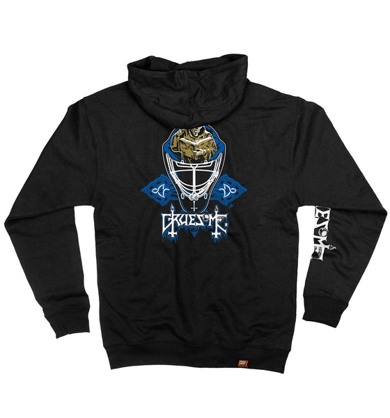 GRUESOME 'DIMENSIONS OF SCORER MASK' full zip hockey hoodie in black back view