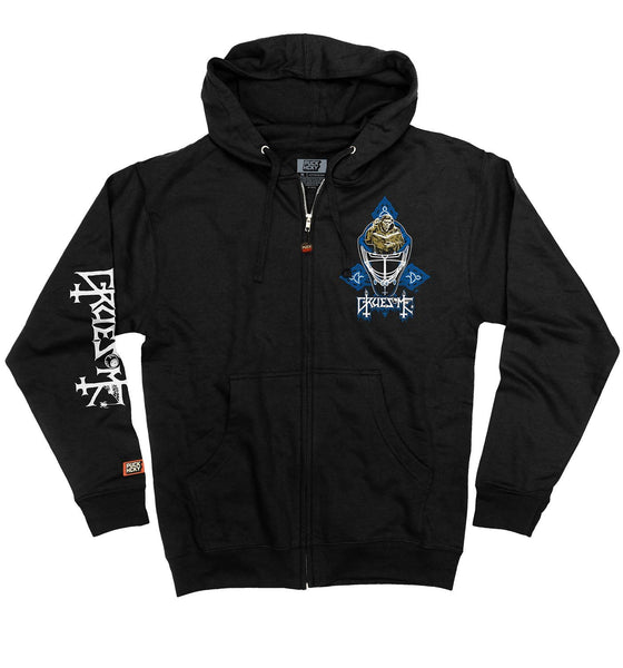 GRUESOME 'DIMENSIONS OF SCORER MASK' full zip hockey hoodie in black front view