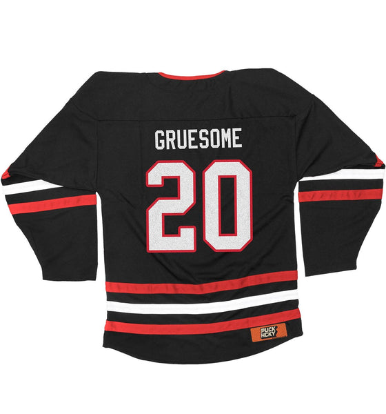 GRUESOME 'FRAGMENTS OF GOALIE' hockey jersey in black, red, and white back view