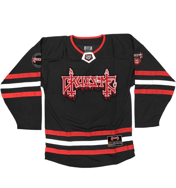 GRUESOME 'FRAGMENTS OF GOALIE' hockey jersey in black, red, and white front view