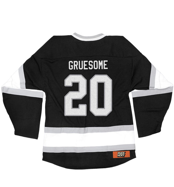 GRUESOME 'SAVAGE SKATE' hockey jersey in black, white, and grey back view