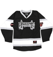 GRUESOME 'SAVAGE SKATE' hockey jersey in black, white, and grey front view