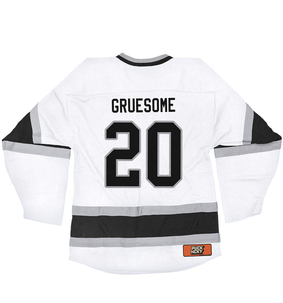 GRUESOME 'TWISTED WRISTERS' hockey jersey in white, black, and grey back view