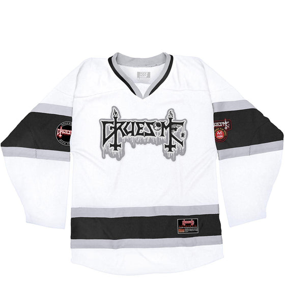 GRUESOME 'TWISTED WRISTERS' hockey jersey in white, black, and grey front view