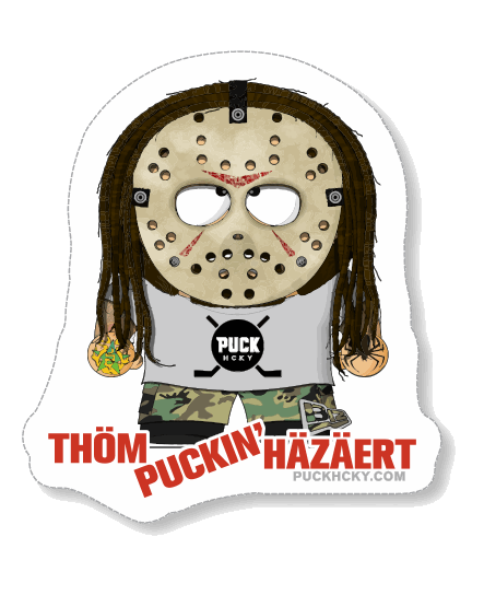 THOM HAZAERT 'GOALIE THOM' hockey sticker