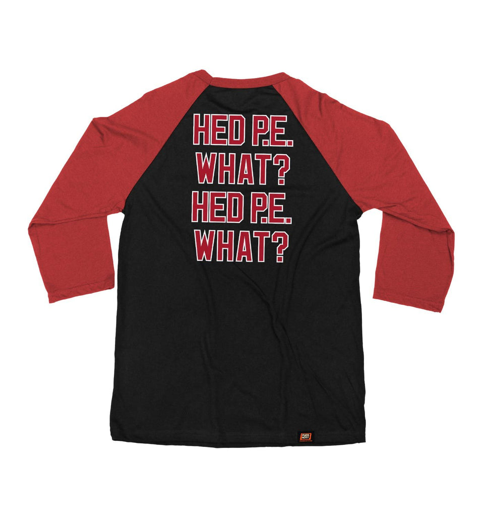 (HED)P.E. 'HED DEVIL' hockey raglan t-shirt in black and red back view