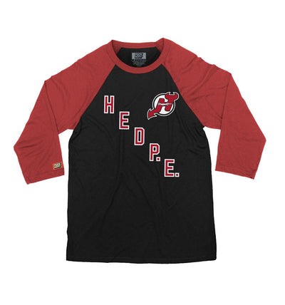 (HED)P.E. 'HED DEVIL' hockey raglan t-shirt in black with red arms front view