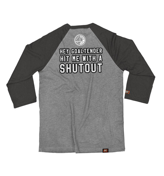 (HED)P.E. 'GOALTENDER' hockey raglan t-shirt in grey with charcoal black arms back view