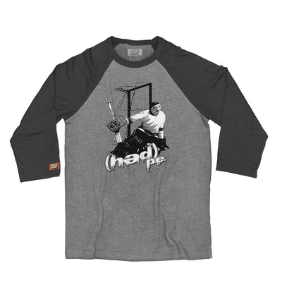 (HED)P.E. 'GOALTENDER' hockey raglan t-shirt in grey with charcoal black arms front view