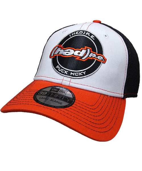 (HED)P.E. 'OFFICIAL PUCK' stretch mesh hockey cap in white, orange and black with contrast stitching