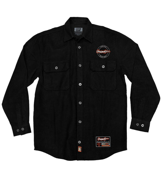 (HED)P.E. 'OFFICIAL PUCK' hockey flannel in solid black front view