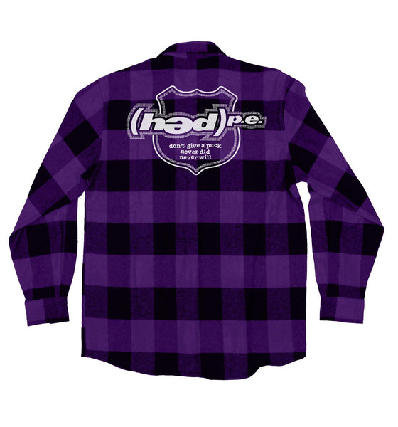 (HED)P.E. 'OFFICIAL PUCK' hockey flannel in purple plaid back view