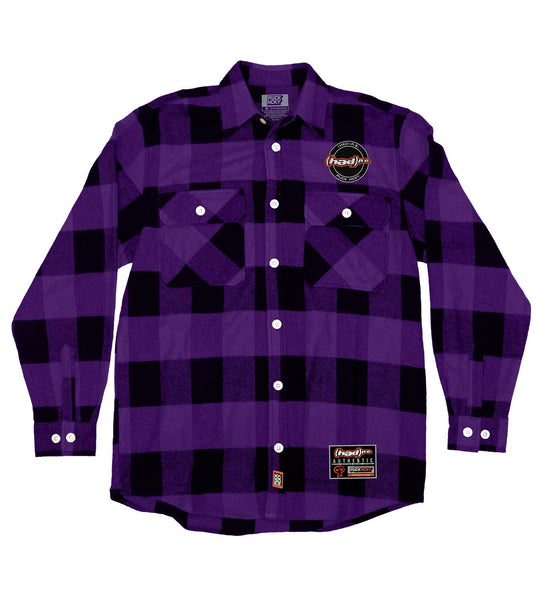 (HED)P.E. 'OFFICIAL PUCK' hockey flannel in purple plaid front view