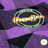 (HED)P.E. 'OFFICIAL PUCK' hockey flannel in purple plaid patch close-up