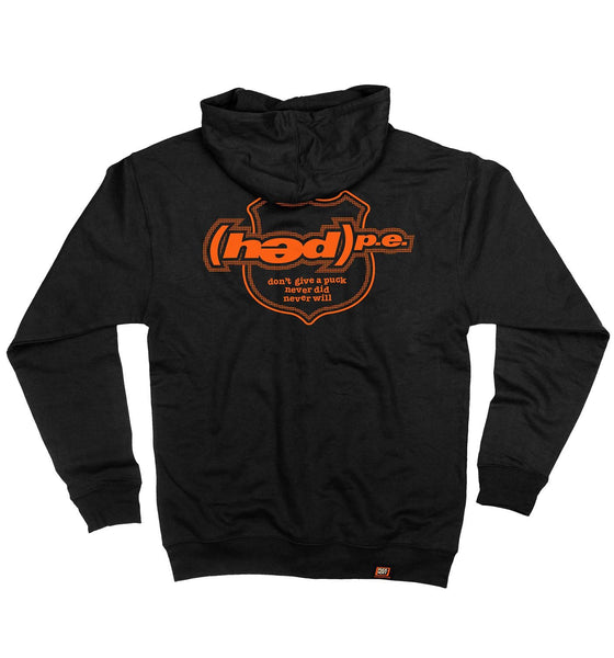 (HED)P.E. 'OFFICIAL PUCK' full zip hockey hoodie in black back view