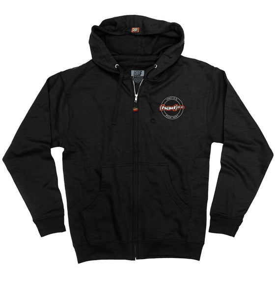 (HED)P.E. 'OFFICIAL PUCK' full zip hockey hoodie in black front view