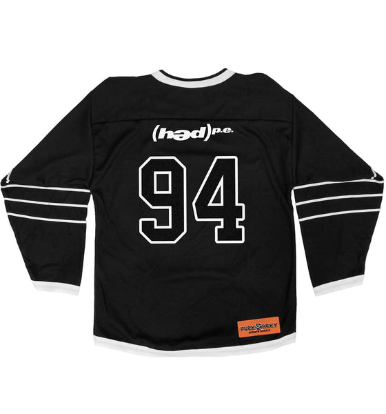 (HED)P.E. 'ON THE DIAG' hockey jersey in black and white back view