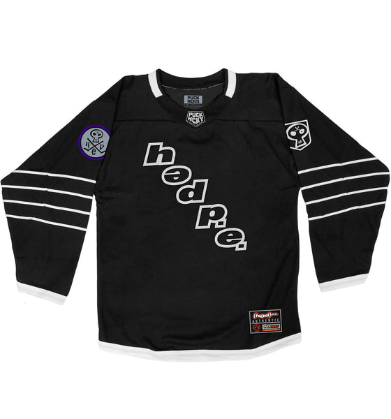 (HED)P.E. 'ON THE DIAG' hockey jersey in black and white front view