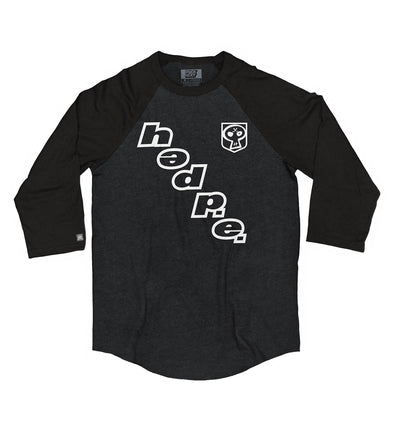 (HED)P.E. 'ON THE DIAG' hockey raglan t-shirt in black heather with black sleeves