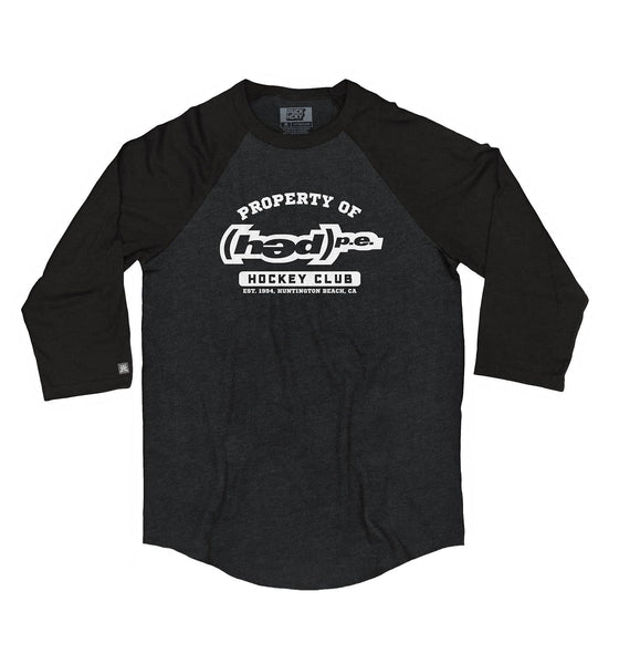 (HED)P.E. 'PROPERTY OF' hockey raglan t-shirt in black heather with black sleeves