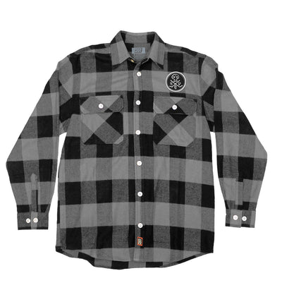 (HED)P.E. 'PUNK SKULL' hockey flannel in grey plaid