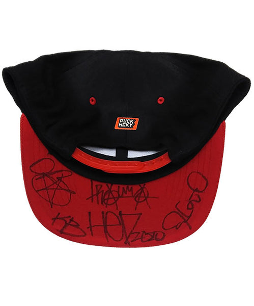 (HED)P.E. 'PUNK SKULL' LIMITED EDITION flat bill snapback hockey cap in black with red brim signed