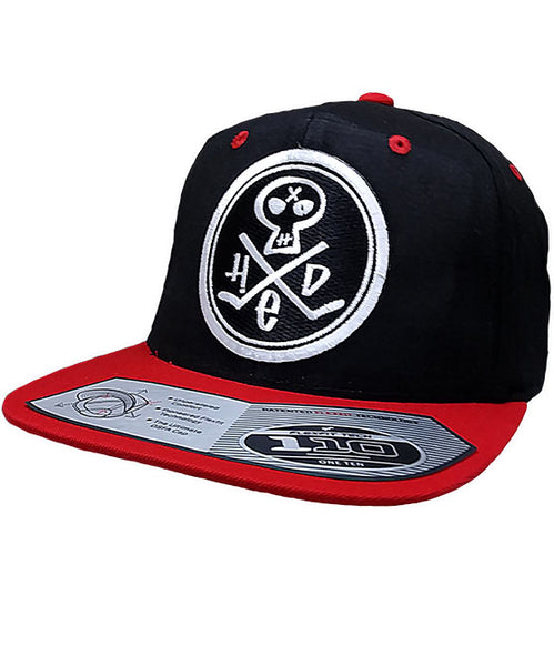 (HED)P.E. 'PUNK SKULL' LIMITED EDITION flat bill snapback hockey cap in black with red brim