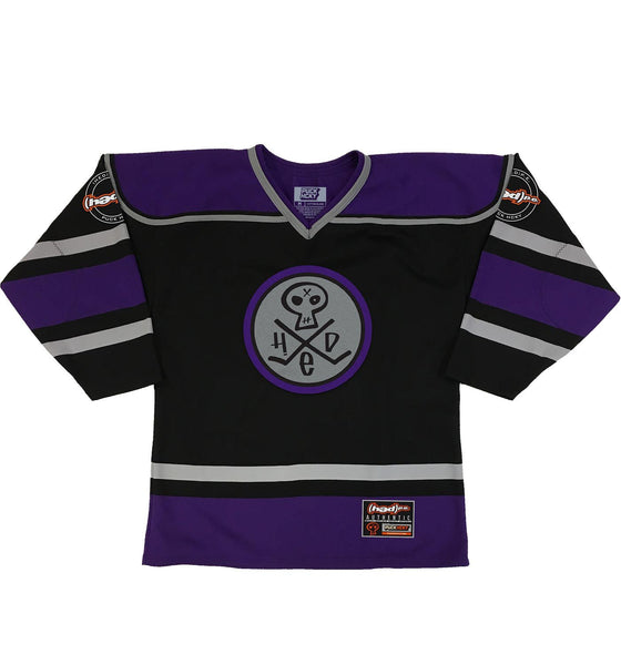 (HED)P.E. 'PUNK SKULL' hockey jersey in black, purple, and grey front view
