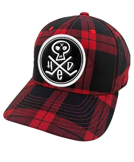 (HED)P.E. hockey cap in red and black plaid with 'PUNK SKULL' patch