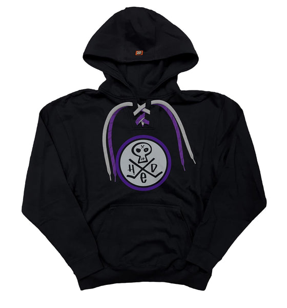 (HED)P.E. 'SKULLY' pullover hockey hoodie in black with purple and grey laces front view