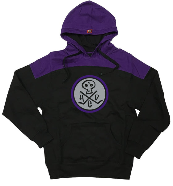 (HED)P.E. 'SKULLY' pullover hockey hoodie in black and purple front view