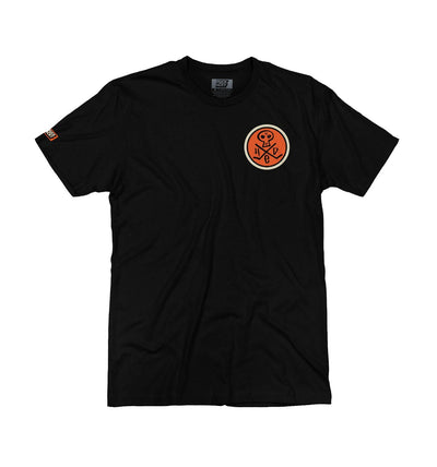 (HED)P.E. 'MINI SKULLY' short sleeve hockey t-shirt in black with orange and cream skull design front view