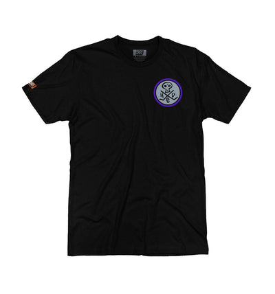 (HED)P.E. 'MINI SKULLY' short sleeve hockey t-shirt in black with grey and purple skull design front view