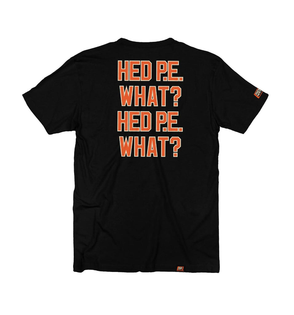(HED)P.E. 'GOALTENDER' short sleeve hockey t-shirt in black with orange and cream skull design back view