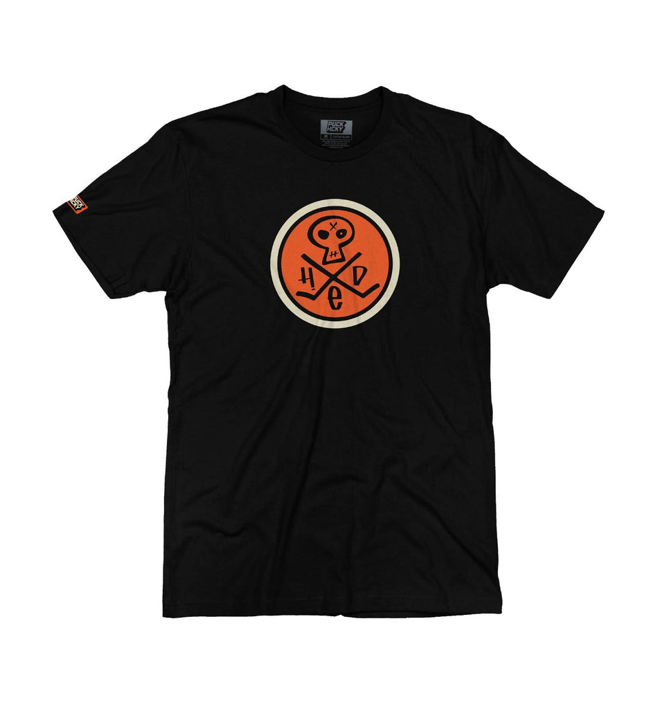 (HED)P.E. 'GOALTENDER' short sleeve hockey t-shirt in black with orange and cream skull design front view