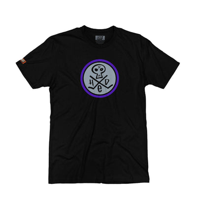 (HED)P.E. 'SKULLY' short sleeve hockey t-shirt in black with grey and purple skull design front view