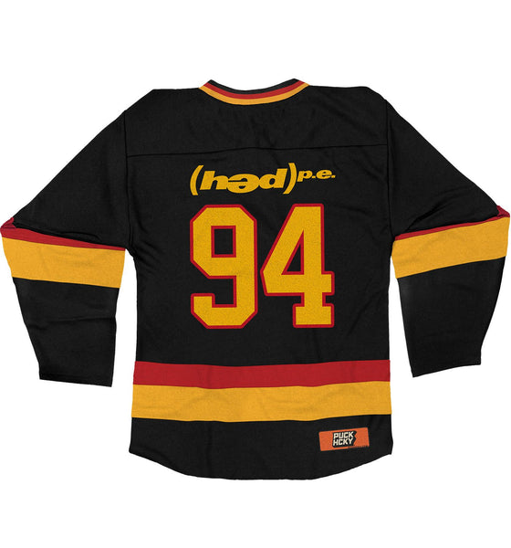 (HED)P.E. 'THE HUNTINGTON' hockey jersey in black, red, and gold back view