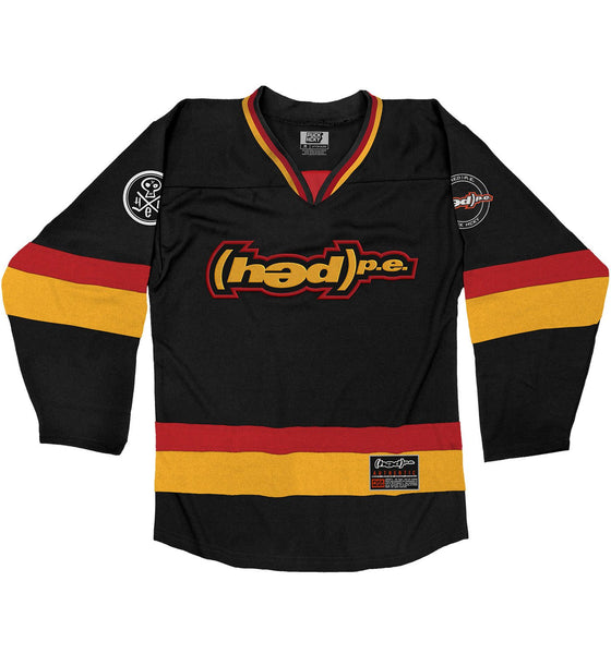 (HED)P.E. 'THE HUNTINGTON' hockey jersey in black, red, and gold front view